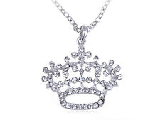 Floral Abstract Bling Ice Crystal Clear Rhinestone Crown Queen Pendant Necklace