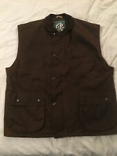Mens Sz XL Extra Large Brown Oxford Blue Insulated Full Zip Outdoor Wear Vest