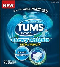 TUMS Antacid Chewy Delights Ultra Strength Peppermint Soft Chews 32 count