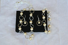 Pearlesque Open Link 3-Piece Gift Set Earrings, Necklace, Bracelet by Avon