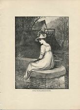 Tennyson's Alice, the Miller's Daughter. Antique 1892 wood engraving print.