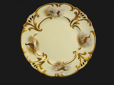SIGNED GILMAN COLLAMORE & BWM CO. GILT & HAND PAINTED BIRD PLATE – CIRCA 1895