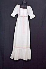 Vtg Country Nightgown Sz Petite  White Polyester Cotton Blend Lace Ribbon Trim