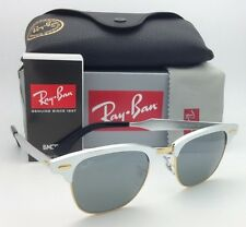 Ray-Ban Sunglasses CLUBMASTER ALUMINUM RB 3507 137/40 Silver &Gold w/Grey Mirror