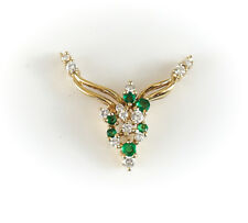 14k Yellow Gold Diamond and Emerald Cluster Pendent, 3.31g