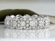 Estate 4.00Ct Natural VS Diamond 18K Solid White Gold Eternity Ring