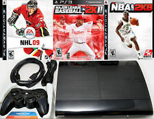 Sony Playstation 3 Super Slim 250gb Game Console System PS3 Bundle NBA/NHL/Base