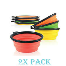 2 Pack Collapsible Dog Bowl Foldable Expandable Dish for Pet Cat Food Water Food