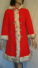 Vintage Red Coat Weather Tamer Fleece with White Faux Fur Trim 12