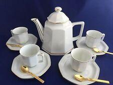 Monaco Toscany China Tea Set Service for Four Vintage White Gold Demitasse Cups