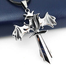 DZ634 Death Note Letter L Marks Silver Cross Wing Pendant Necklace Anime Cosplay