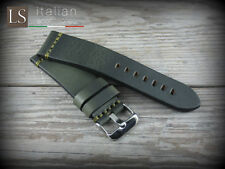 Cinturino in Pelle Vintage ILLINOIS 24 mm Watch Strap Band Verde petrolio