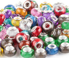20pcs Mix SILVER MURANO shiny spacer beads fit European Charm Bracelet DIY #F35
