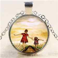 Mother and Daughter Cabochon Glass Tibet Silver Chain Pendant  Necklace#110