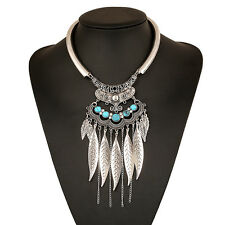 Retro Bohemian Turquoise Feather Tassel Collar Chain Choker Pendant Necklace