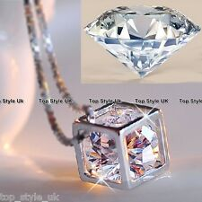 Diamond Inside hollow Cube Necklace Romantic Cute Lovers Gift Present For Girl