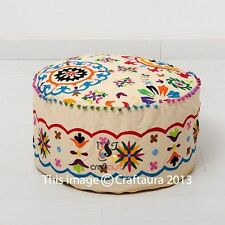 Indian Pouf Ottoman Pouffe Poof Round Pouf Foot Stool Ethnic Decorative Pillow