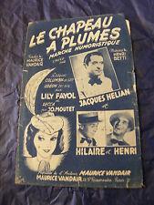 Partition Le chapeau à plumes Jacques Hélian Hilaire et Henri Fayol Music Sheet