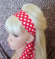 RED WHITE POLKA DOT SPOTTY HEAD HAIR BAND SELF TIE BOW VINTAGE 50'S STYLE