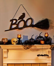 "38"" Hanging Boo Witch Broom Halloween Party Prop Decor Haunted House Decoration"