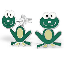 Children's FROG Front to Back Stud Earrings 925 Sterling Silver - ES2053