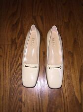 New Authentic Women's Gucci Cream/Beige Leather Loafers Size 8.5