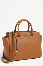 NWT MICHAEL Michael Kors Luggage Tan Large Selma Leather Satchel Bag AUTH $358