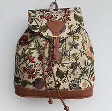 Blumen Rucksack Gobelin Damen Tasche Sonnenblume Käfer Biene Backpack Tapestry