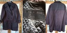SONIA RYKIEL PARIS FRANCE WOMEN'S DARK BROWN TRENCH RAIN COAT QUILTED LINED EUC