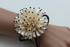 Women Bracelet Big Cream Flower Charm Elastic Metal Cuff Band Fashion Jewelry