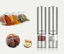2x Electric Salt & Pepper Mill Grinder Electronic Shaker Set Stainless Steel Pot