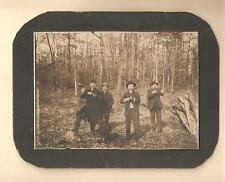 Vtg Cabinet Card Photo 4 Men Hunters Guns Rifles Hunting Dog Outdoors Cigars