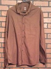 Dockers Shirt Brown Size XXL 18 100% Cotton Long Sleeve Solid Button Down CA63