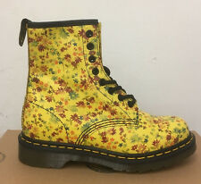 DR. MARTENS 1460  SUN YELLOW LITTLE FLOWERS  LEATHER  BOOTS SIZE UK 9