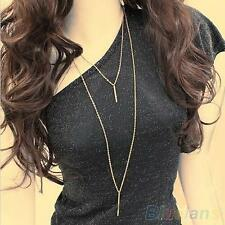 New Sexy Stunning Gold Metal Bar Pendant 2-layer Tassel Long Chain Necklace