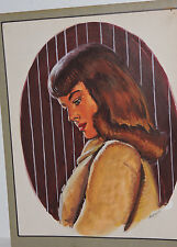Vintage Deco Modernist Portrait BEAUTIFUL Woman Painting Illustrator Art 1940s