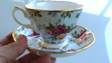 Vtg Royal Albert Bone China Blue Damask Chintz Old Country Roses Cup & Saucer