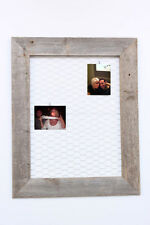 Reclaimed Rustic Barnwood Chicken Wire Photo or Message Board 10 Mini Clothes Pi