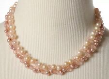 Pair of 925 Sterling Silver Pink Pearl Glass Bead Strand Necklaces