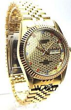 Swanson Men Gold-tone, Champagne- dial 4  Blue & 8 Ruby -Crystals Dress Watch