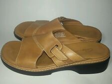 Clarks Womens Sandals Slides Open Toe Tan Leather Size 8 Med Camel Brown GUC