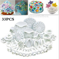 NEW 33pc Sugarcraft Cake Cupcake Decorating Fondant Icing Plunger Cutters Tools