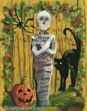 halloween Mummy Black Cat Pumpkin Black Spider Quality Wall Art Print