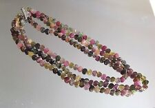 Vintage Tourmaline 3 Strand Necklace With Silver 925 Closure