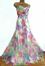 MONSOON ✩ STUNNING PARADISE FLORAL SILK CHIFFON MAXI EVENING DRESS ✩ SIZE 20