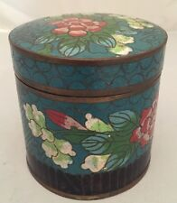 Antique CHINESE Bronze CLOISONNE BLUE ENAMEL Pink Flowers CANISTER JAR BOX