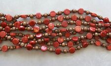 "16"" Strand Red Sponge Coral Thick Coin & Wood Round Beads 6mm-14mm"