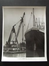 CRANE BARGE LOADING THE FRIEGHTER PIONEER SURF VTG  8x10 PHOTO
