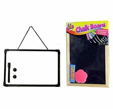 A4 Whiteboard & Chalkboard Blackboard Office Memo Chalks Duster Pen & Eraser UK