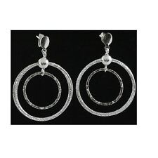 46mm Silver Dangling Fancy Earrings With Push Back Backing #PVE31